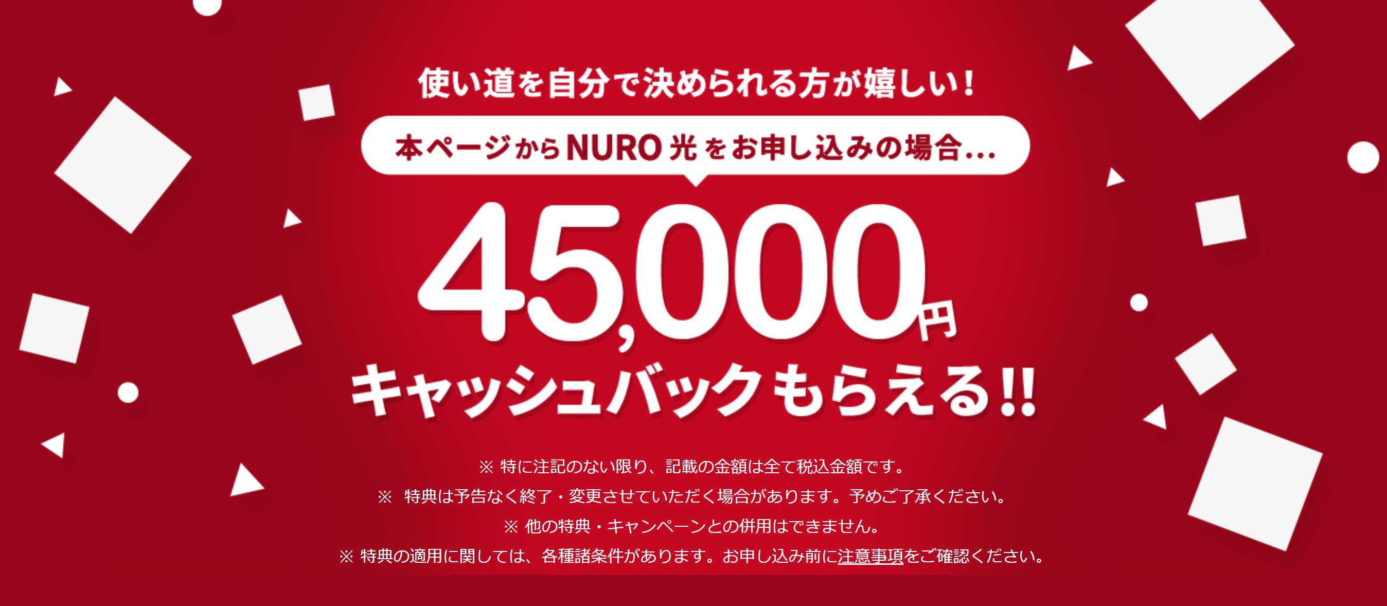 NURO光 キャッシュバック 45000円